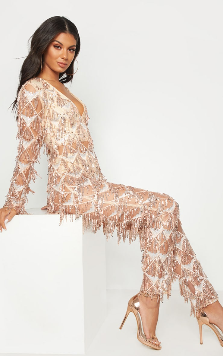 Rose Gold Tassel Sequin Plunge Jumpsuit 4