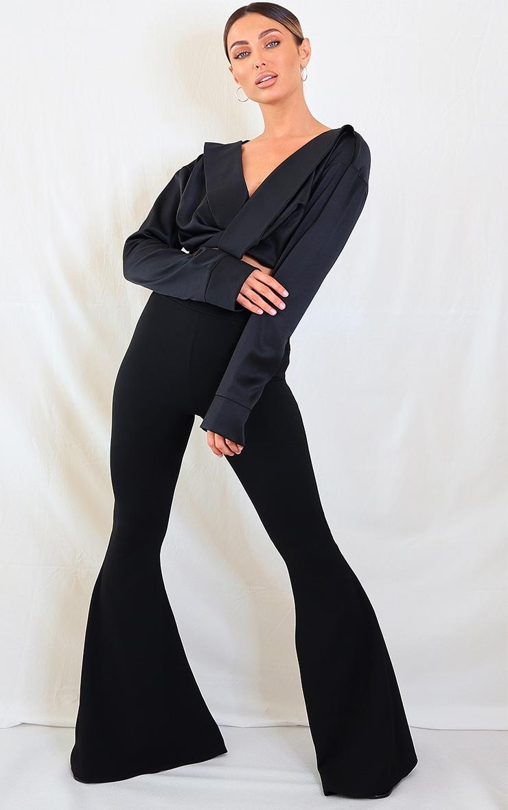 Black Extreme Flare Leg Pants 1
