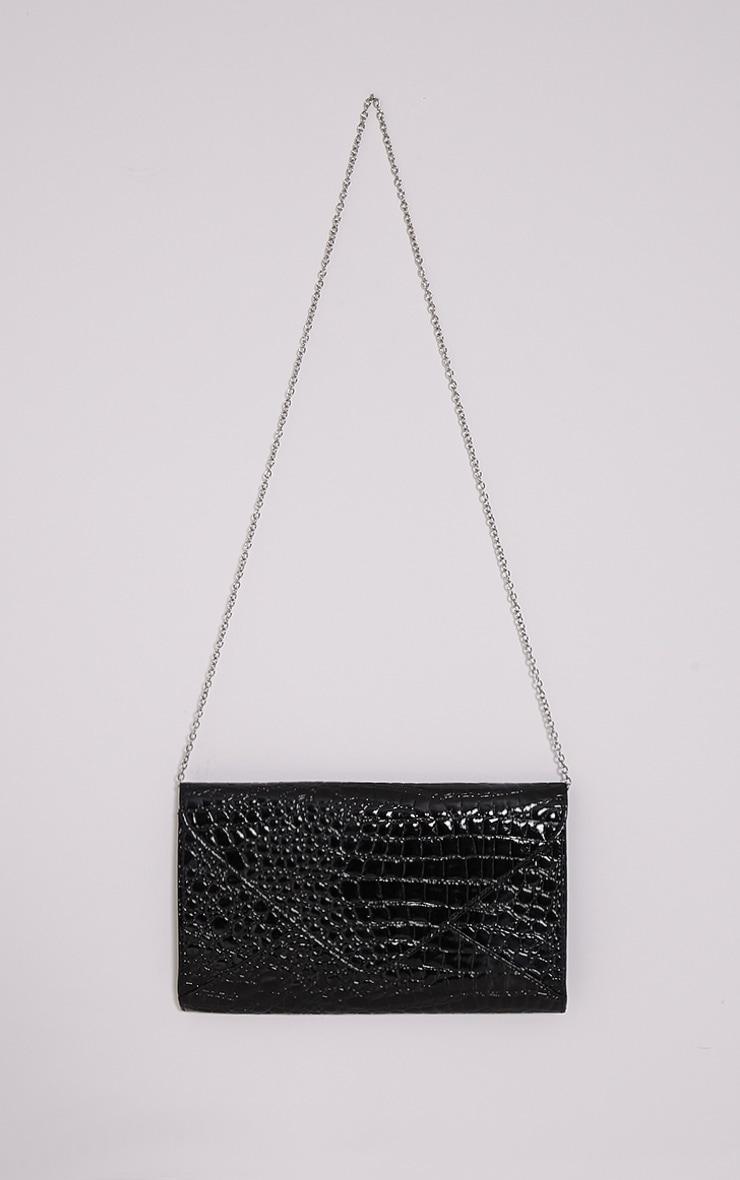 Janie Black Patent Croc Clutch Bag 4