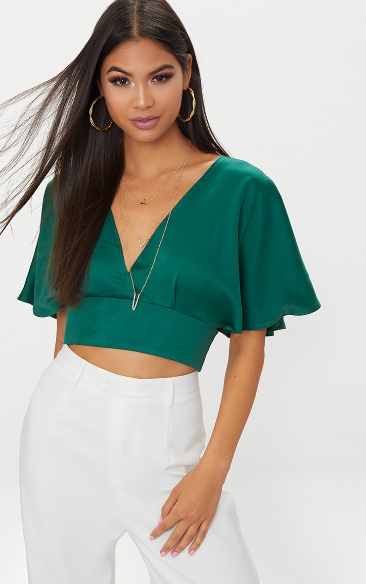 Emerald Green Satin Flare Sleeve Plunge Crop Top  1