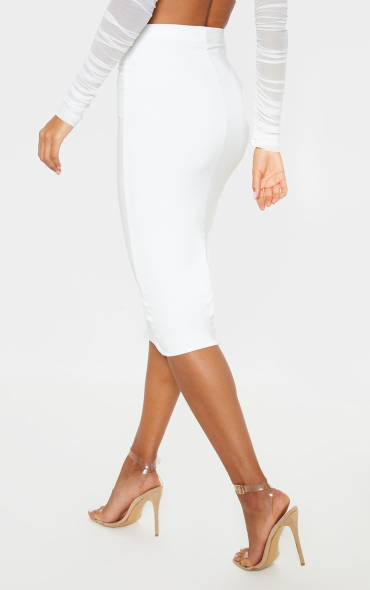 Aidy White Slinky Long Line Midi Skirt  4