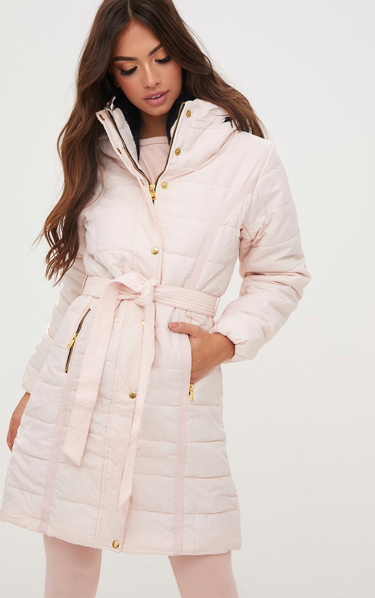 Nude Longline Belted Puffer Coat 1