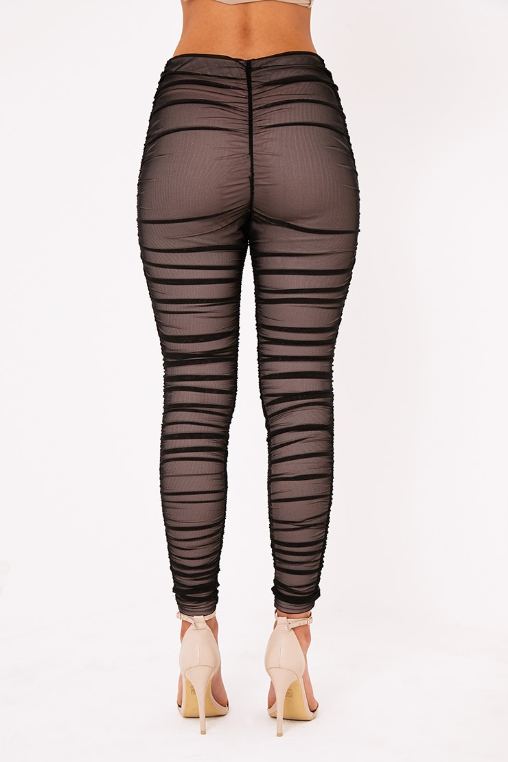 Piera Black Ruched Mesh Pants 5