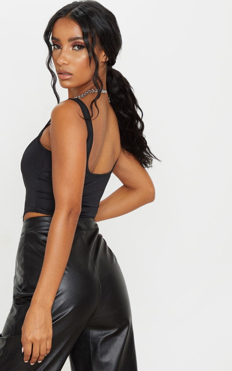 Black Disco Pointed Hem Cropped Corset 2
