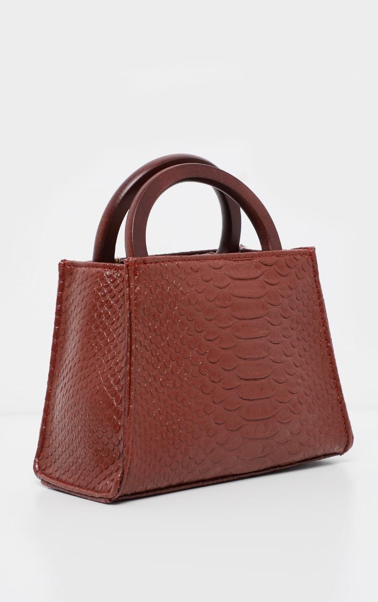 Tan Croc Wooden Handle Mini Bag 2