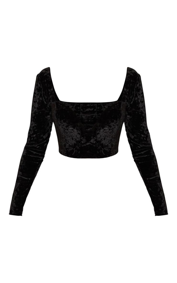 Black Velvet V Wire Long Sleeve Crop Top 3