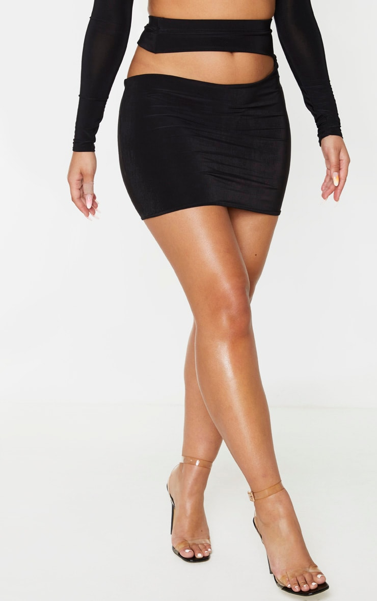 Black Slinky Cut Out Waist Detail Mini Skirt 2