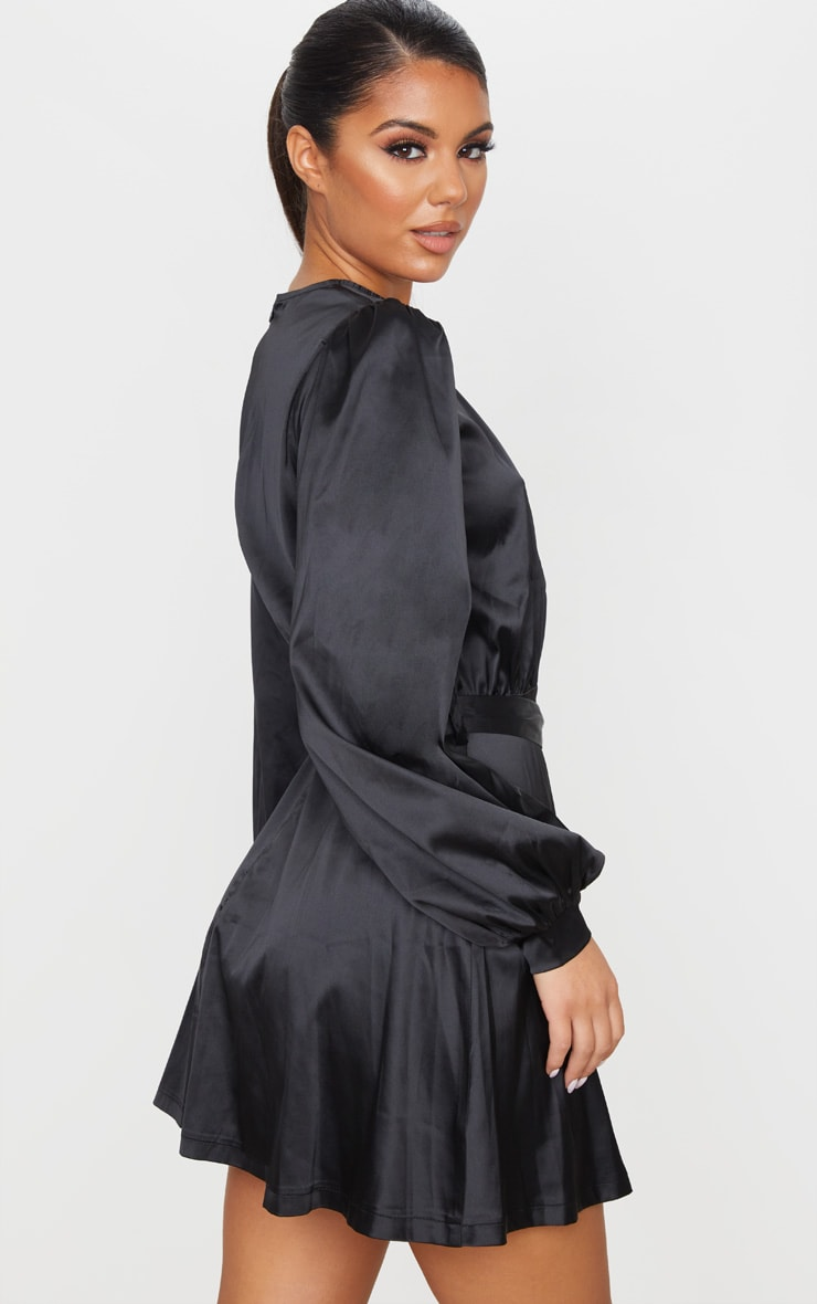 Black Satin Balloon Sleeve Skater Dress 2