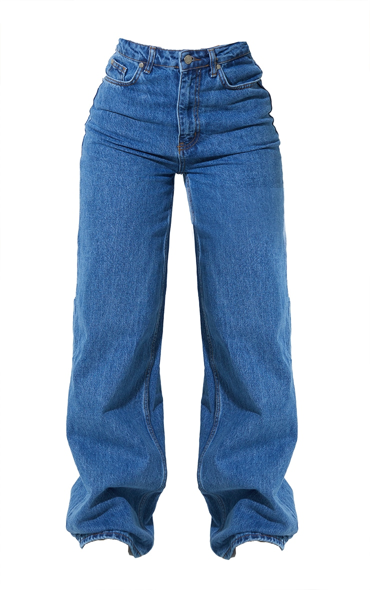 Recycled Mid Blue Wash Wide Leg Jeans 5