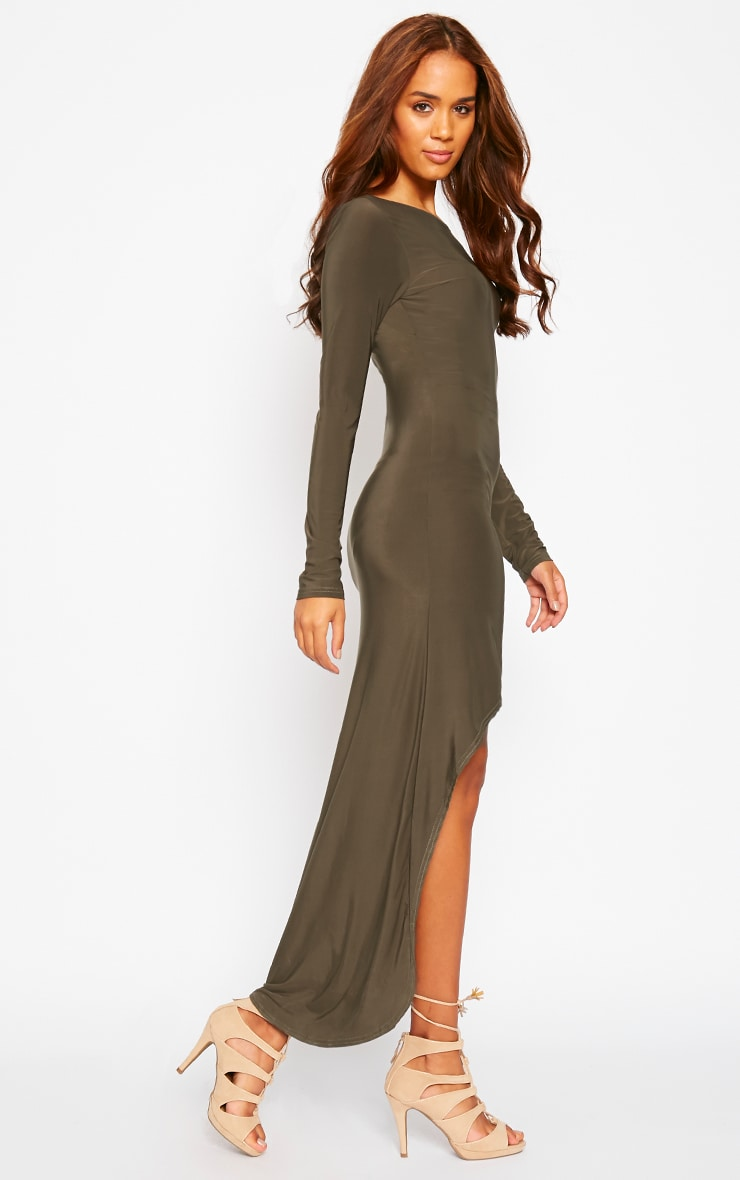 Fearne Khaki Slinky Dip Hem Dress 4