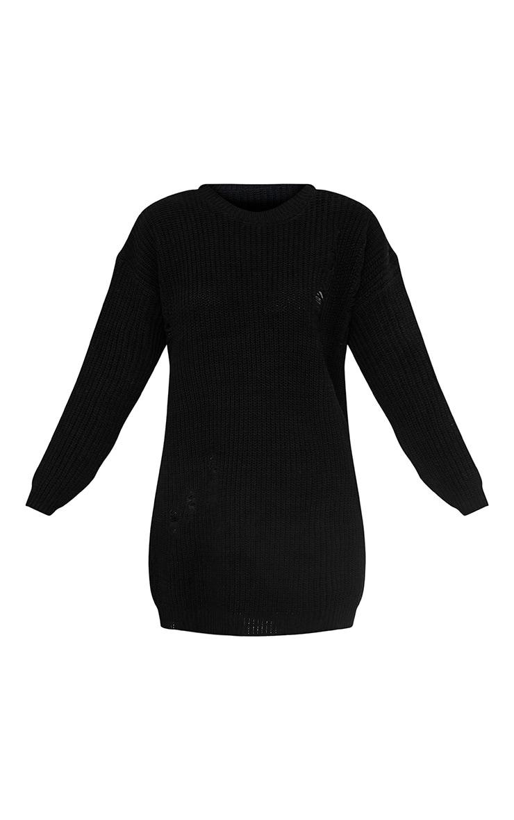 Nico robe pull surdimensionnée noire style usé 3