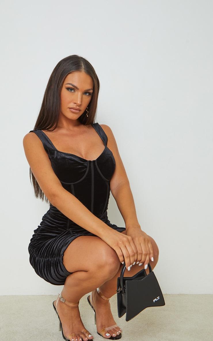 Black Velvet Corset Ruched Binding Detail Bodycon Dress 3