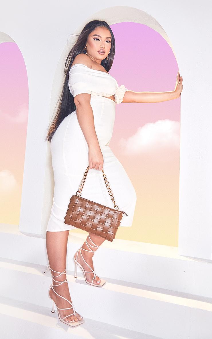 Plus  Cream Textured Woven Cut Out Detail Midi Dress 3