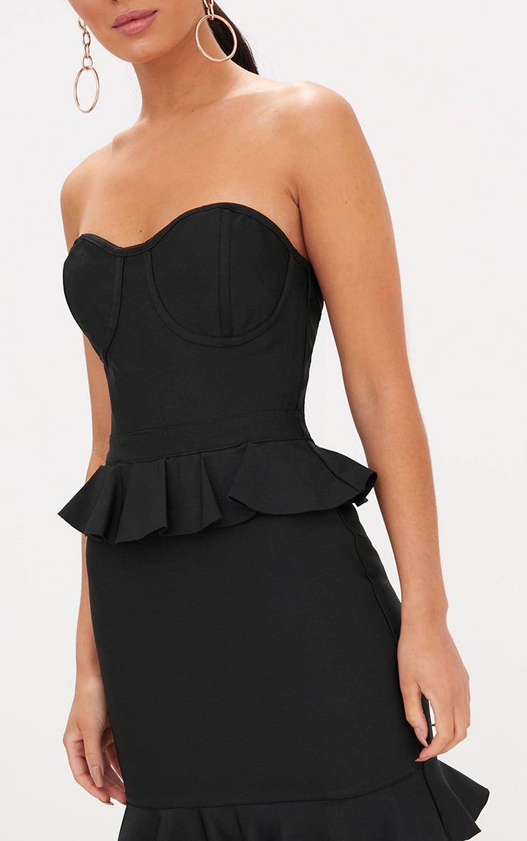 Black Bandeau Bandage Frill Detail Bodycon Dress 5