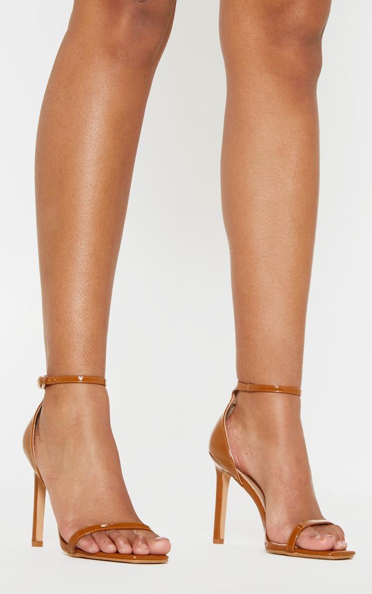 8c27ae7a5bd Tan Thin Strap Square Toe Strappy Sandal image 1