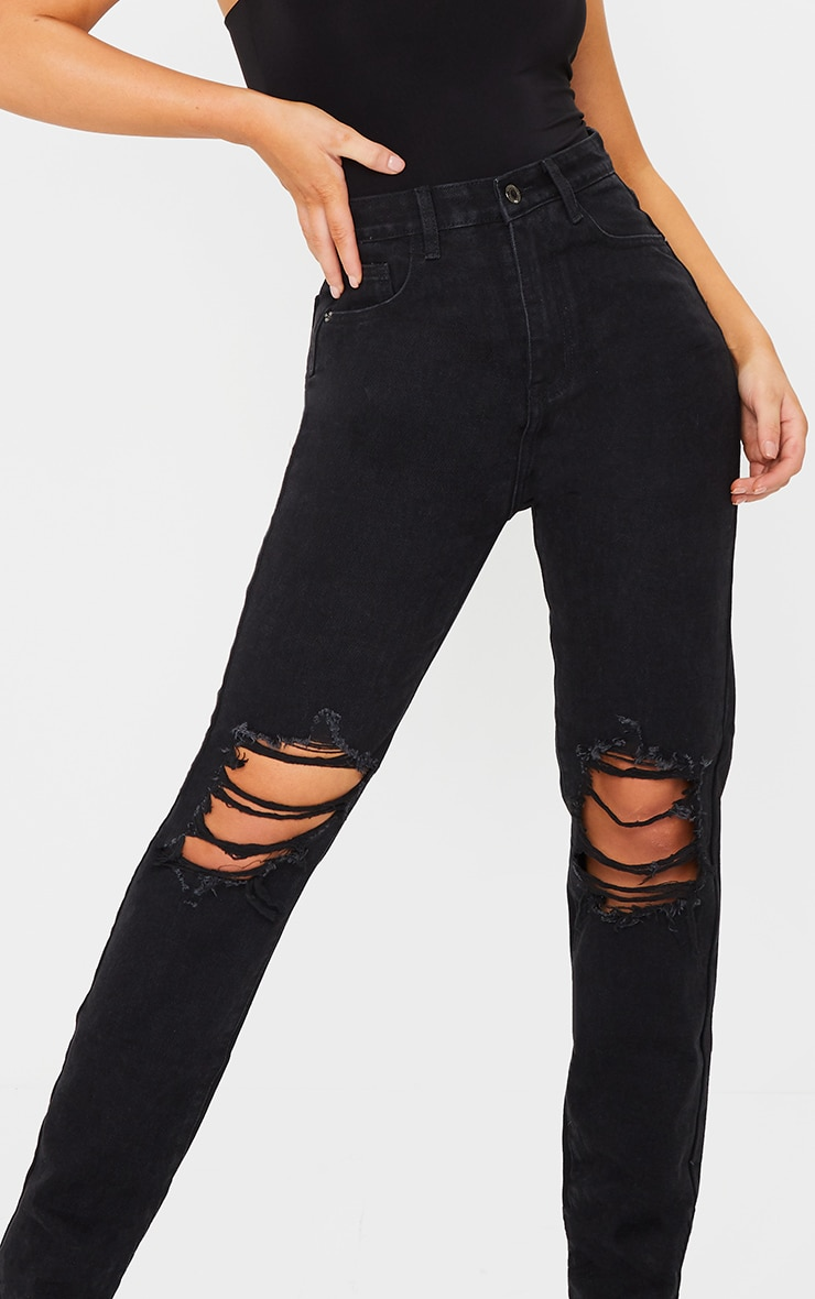 Washed Black Ripped Knee Long Leg Straight Jeans 4