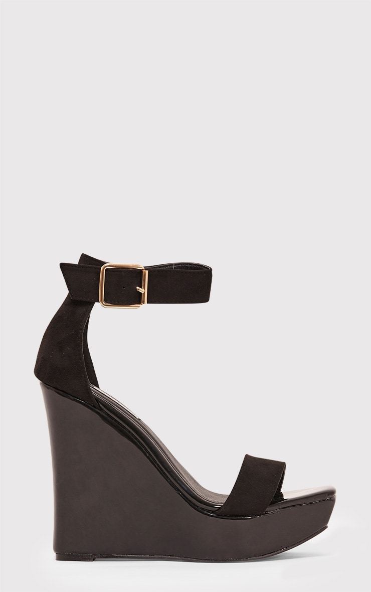 Roselle Black Metallic Platform Wedges 1