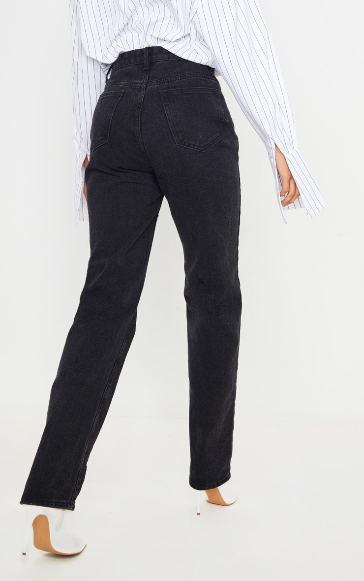 Washed Black Long Leg Straight Jeans 4