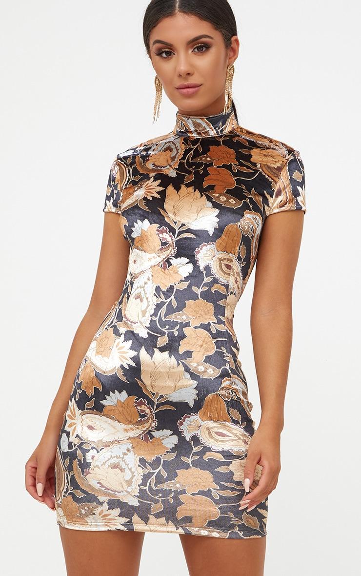 3eada8810707 Black Velvet Floral Lace Up Back Bodycon Dress | PrettyLittleThing USA