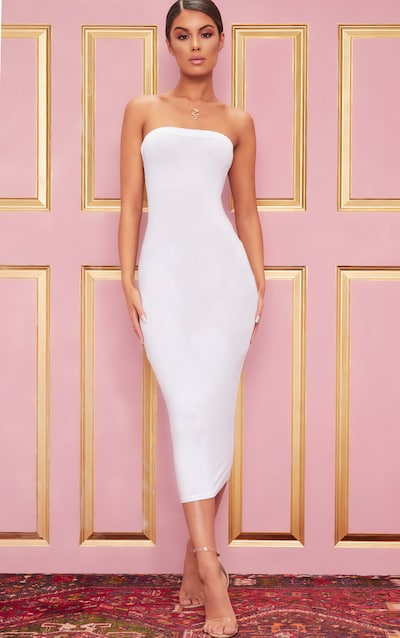 Basic White Bandeau Midaxi Dress