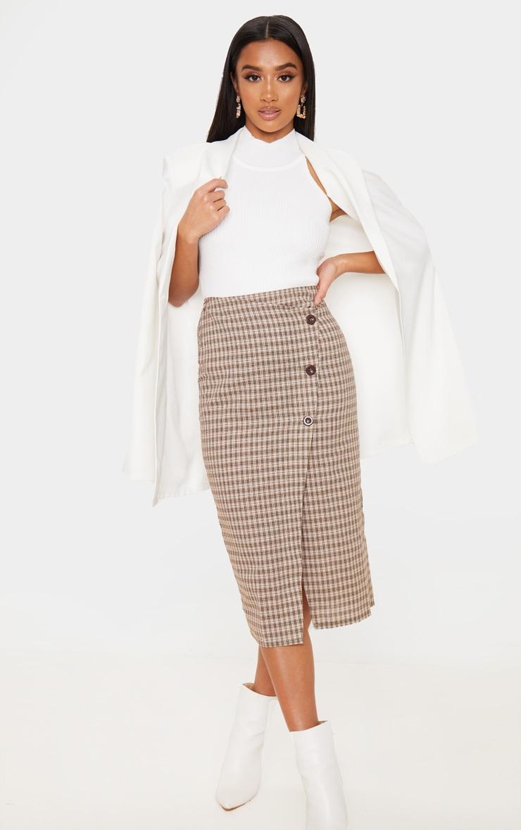 Petite Brown Checked Button Midi Skirt 1