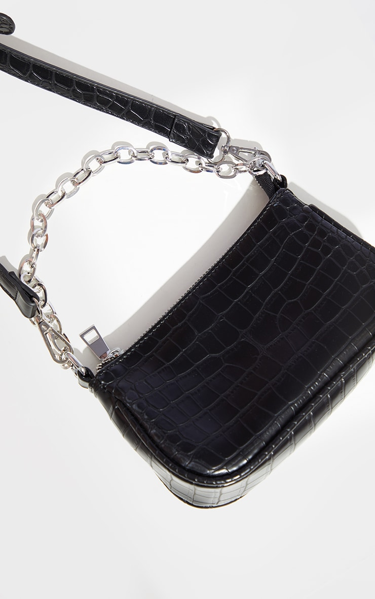 Black Croc Multi Pocket Cross Body Bag 3