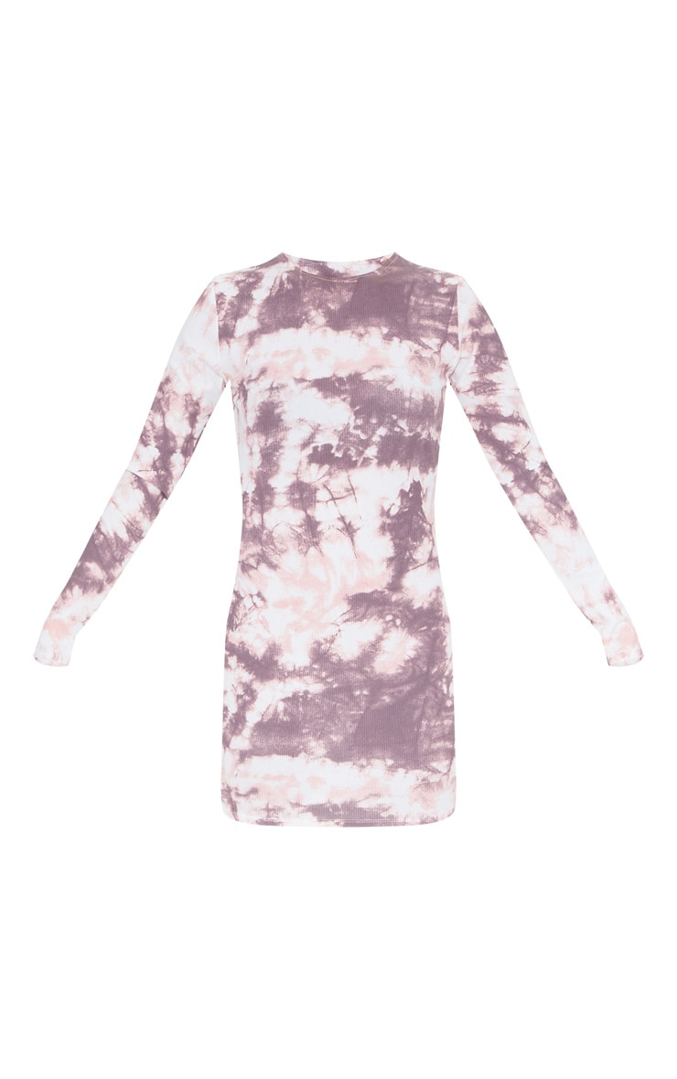 Robe moulante côtelée à imprimé tie & dye rose pâle et manches longues 5