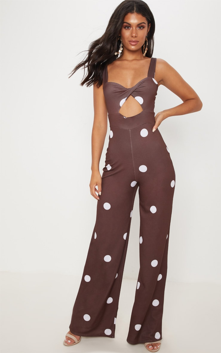 Chocolate Polka Dot Twist Front Jumpsuit