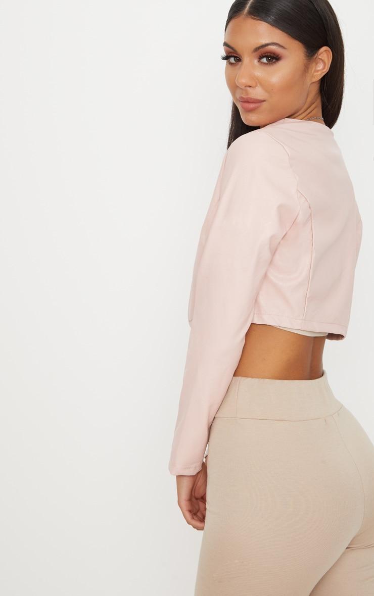 Pale Pink PU Cropped Blazer 2