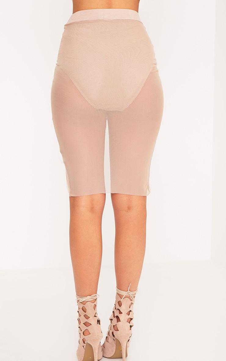 Charla Nude Ruched Mesh Mini Skirt 4