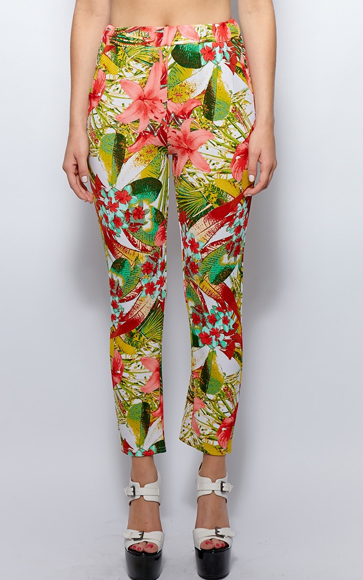 Raven Red Floral Print Trousers 4