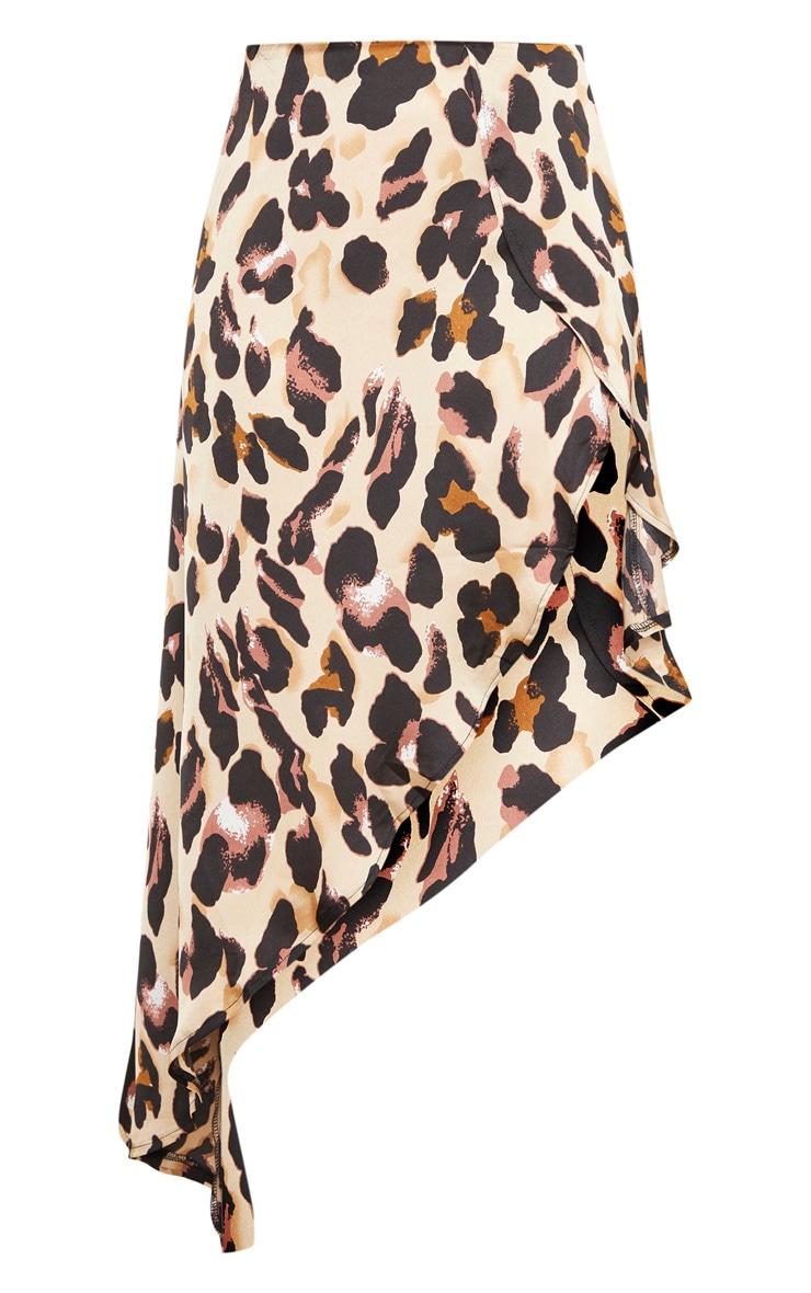 Petite Tan Leopard Print Satin Asymmetric Skirt 3