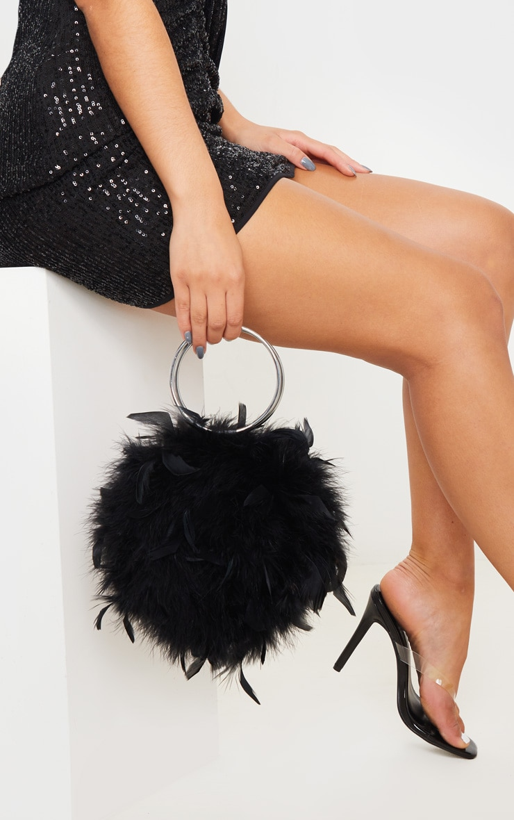Black Feather Boa Circle Handle Bag 1