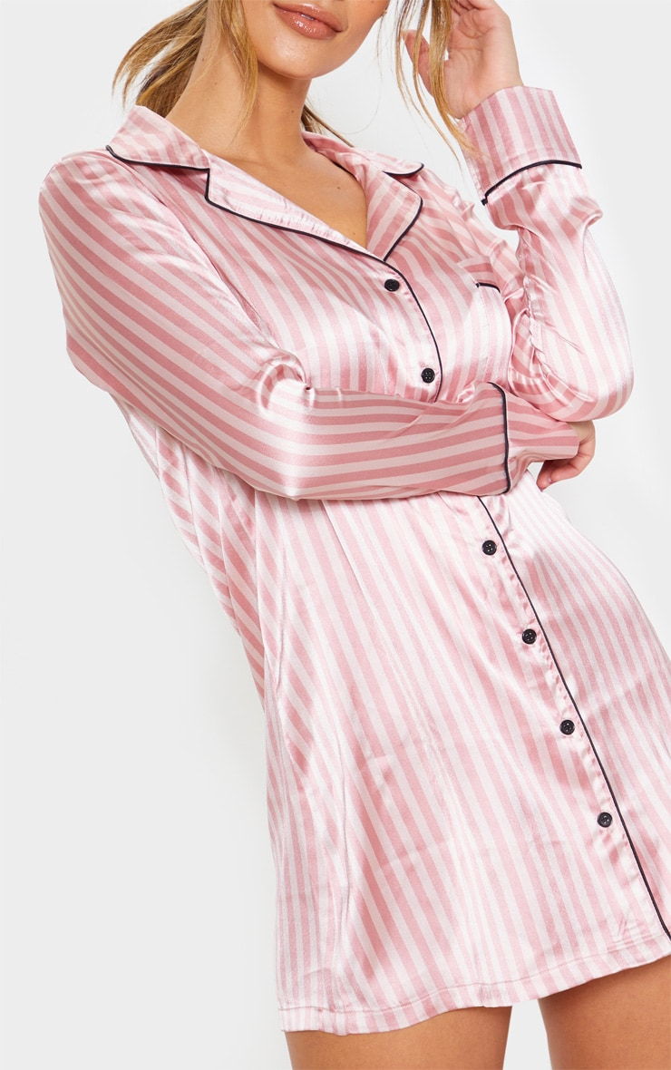 Pink Satin Striped Night Shirt 5