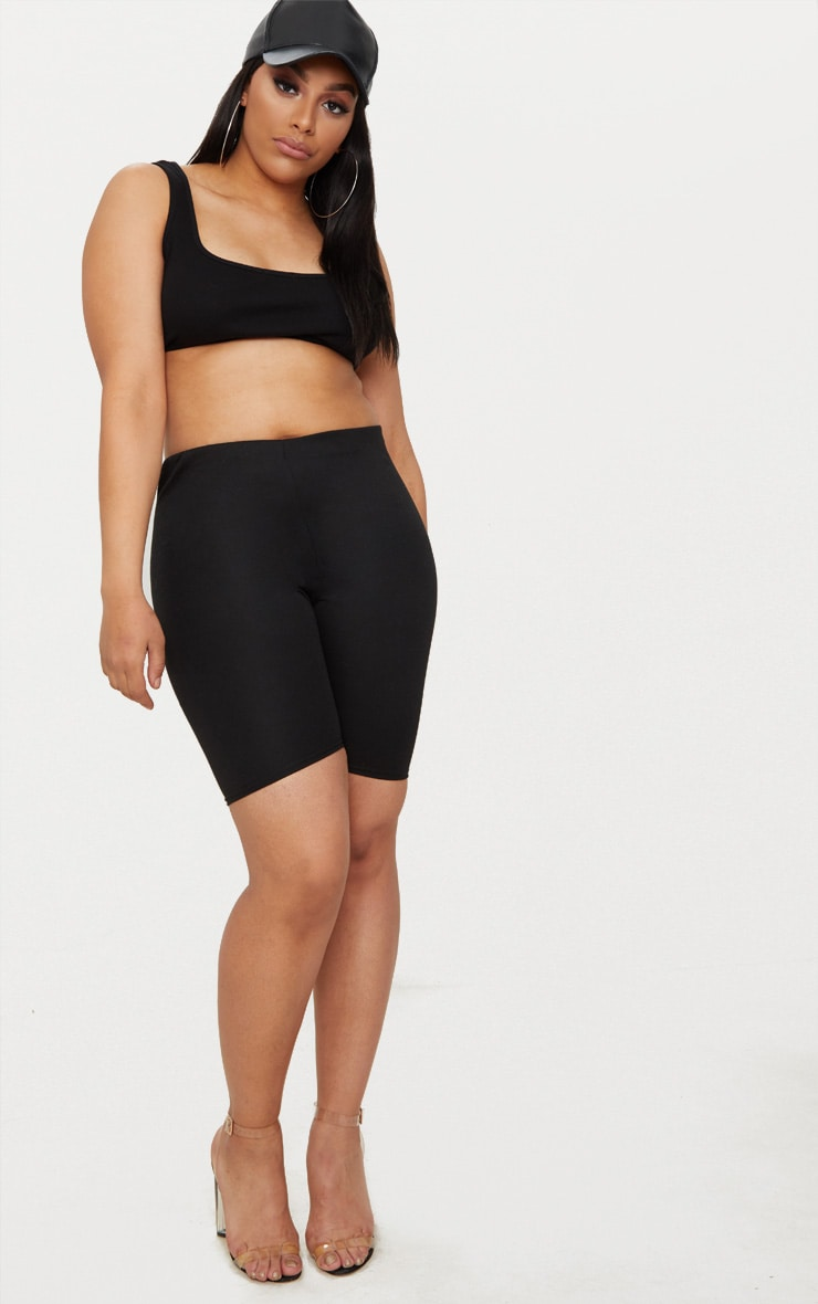 Plus Black Second Skin Ribbed Extreme Crop Top 4