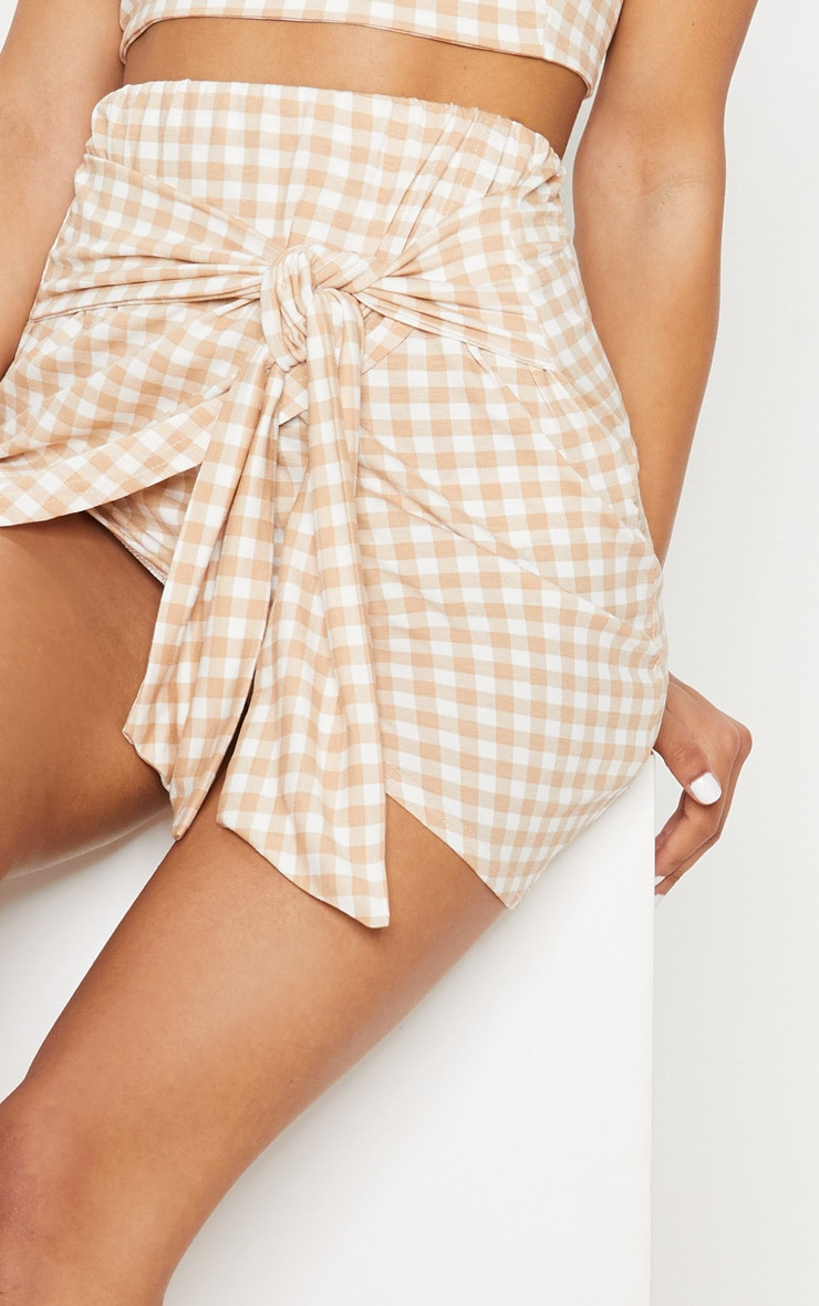 Nude Gingham Tie Front Mini Skirt 6