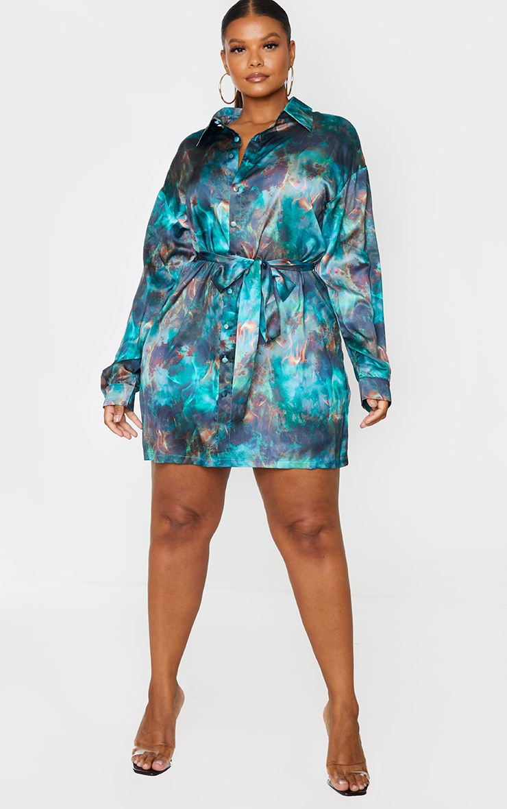 Plus Green Flame Tie Dye Printed Tie Waist Shirt Dress 3