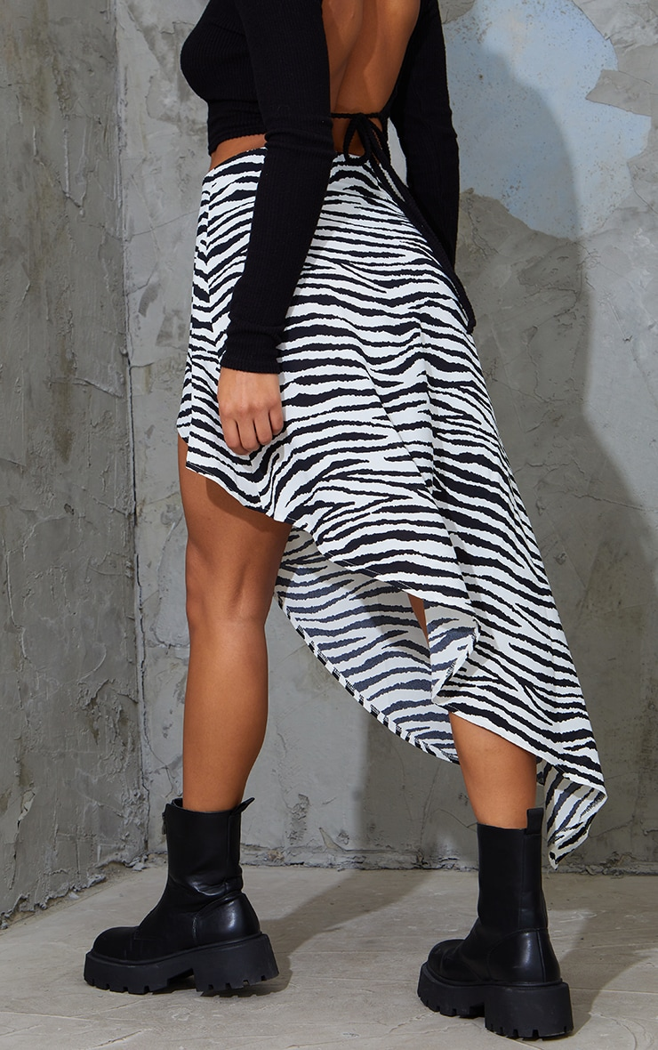 Zebra Print Satin Asymmetric Skirt 3