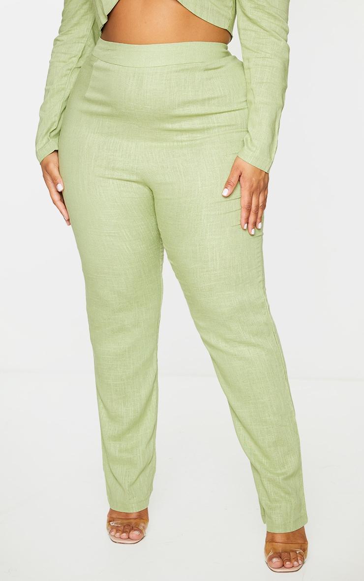 Plus Olive Woven Straight Leg Pants 2