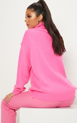 8aff4e2c9 Hot Pink High Neck Fluffy Knit Jumper image 2