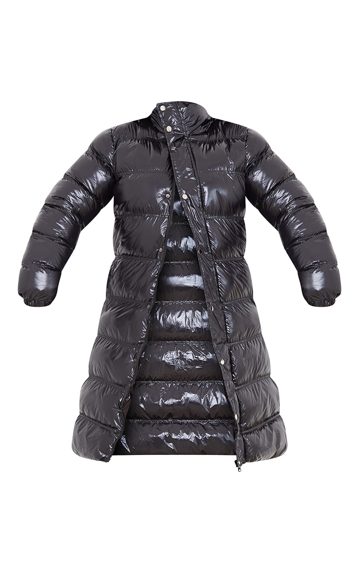 Plus Black Maxi High Shine Fitted Puffer 5
