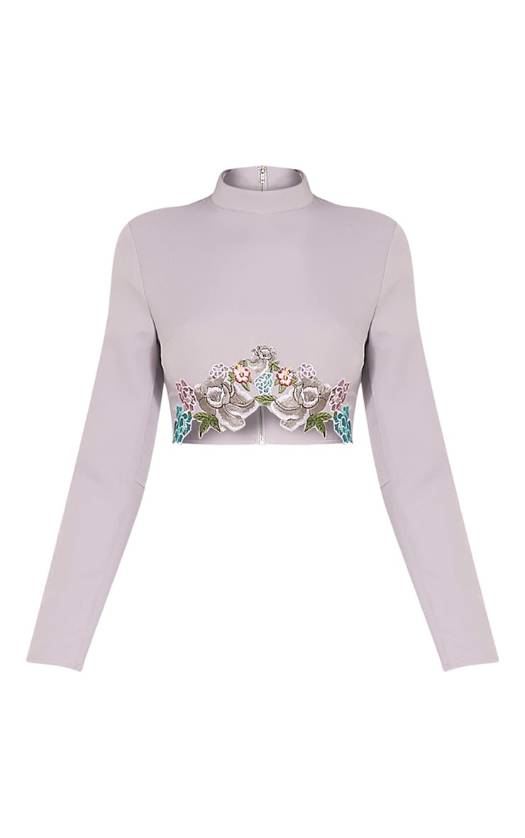 Angie Grey Floral Embroidered Crop Top 3