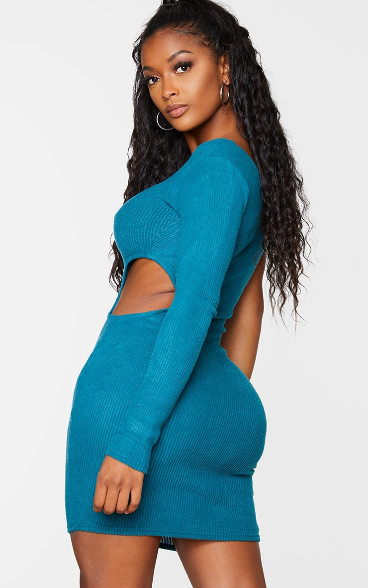 Shape Turquoise Brushed Rib One Shoulder Cut Out Bodycon Dress 2