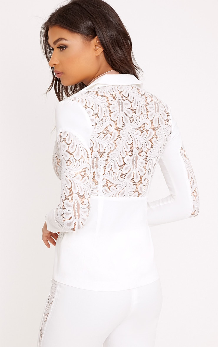 Mikaylah White Lace Insert Detail Suit Jacket 2