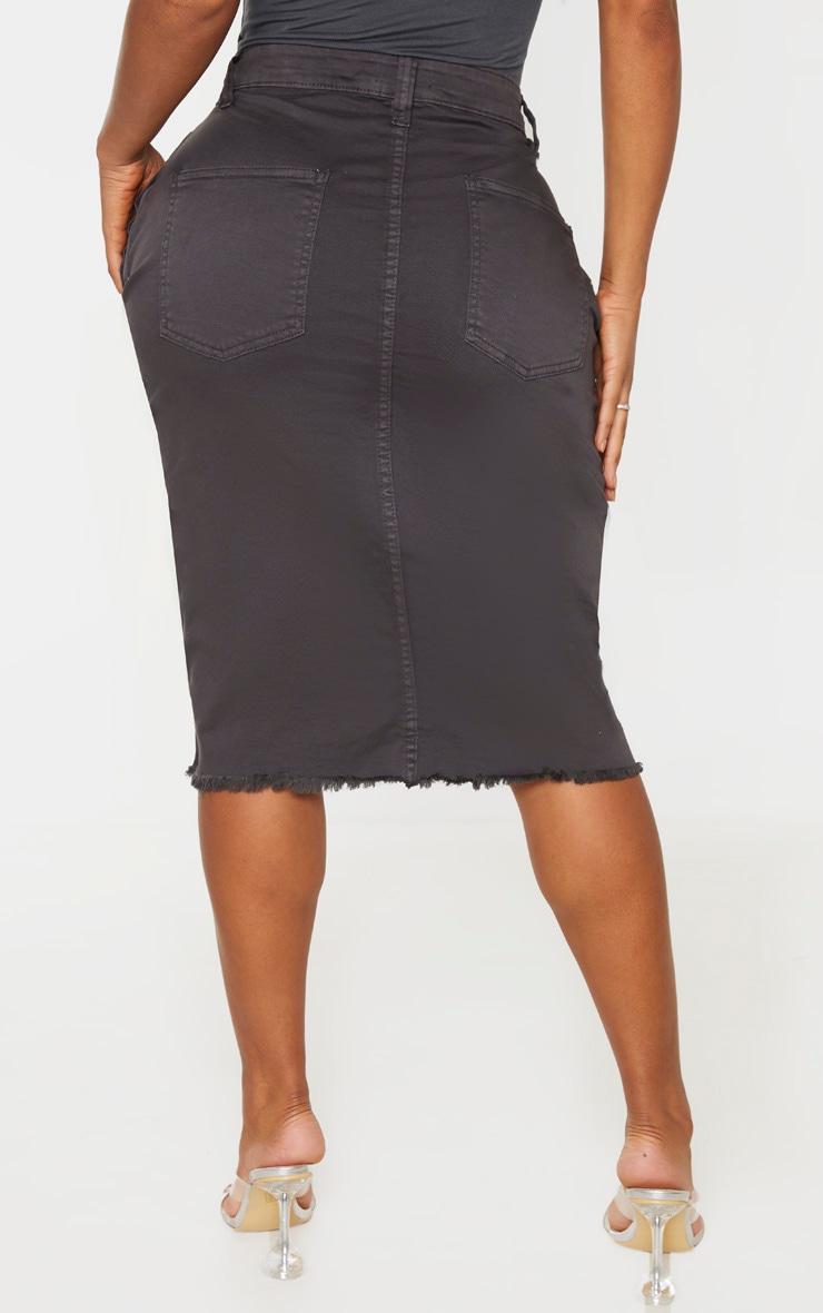 Shape Charcoal Wrap Denim Midi Skirt 4