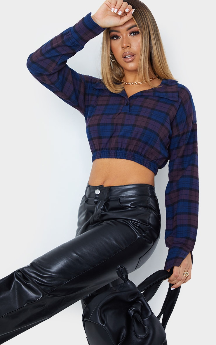 Navy Flannel Check Button Up Elasticated Crop Shirt 1