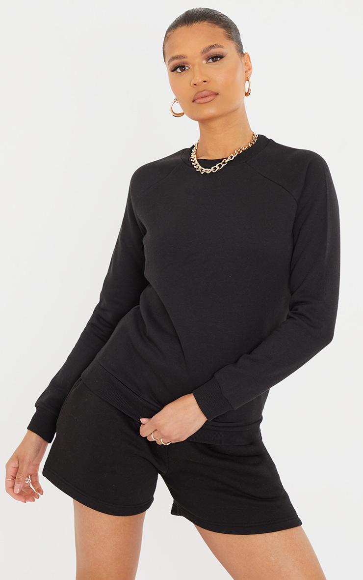 Recycled Basic Black Slim Sweatshirt 1