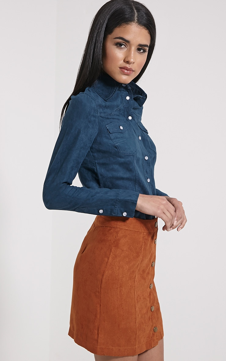 Asha Teal Faux Suede Fitted Shirt 4
