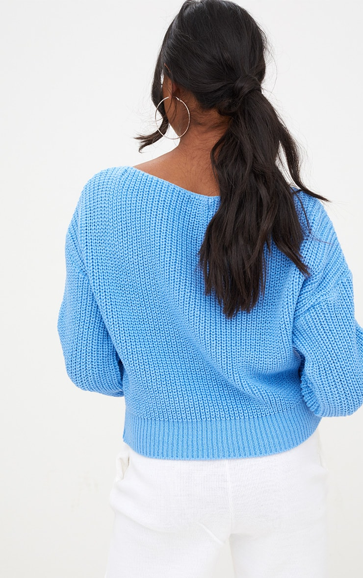 Christiana Blue Knit Slash Neck Crop Jumper 2