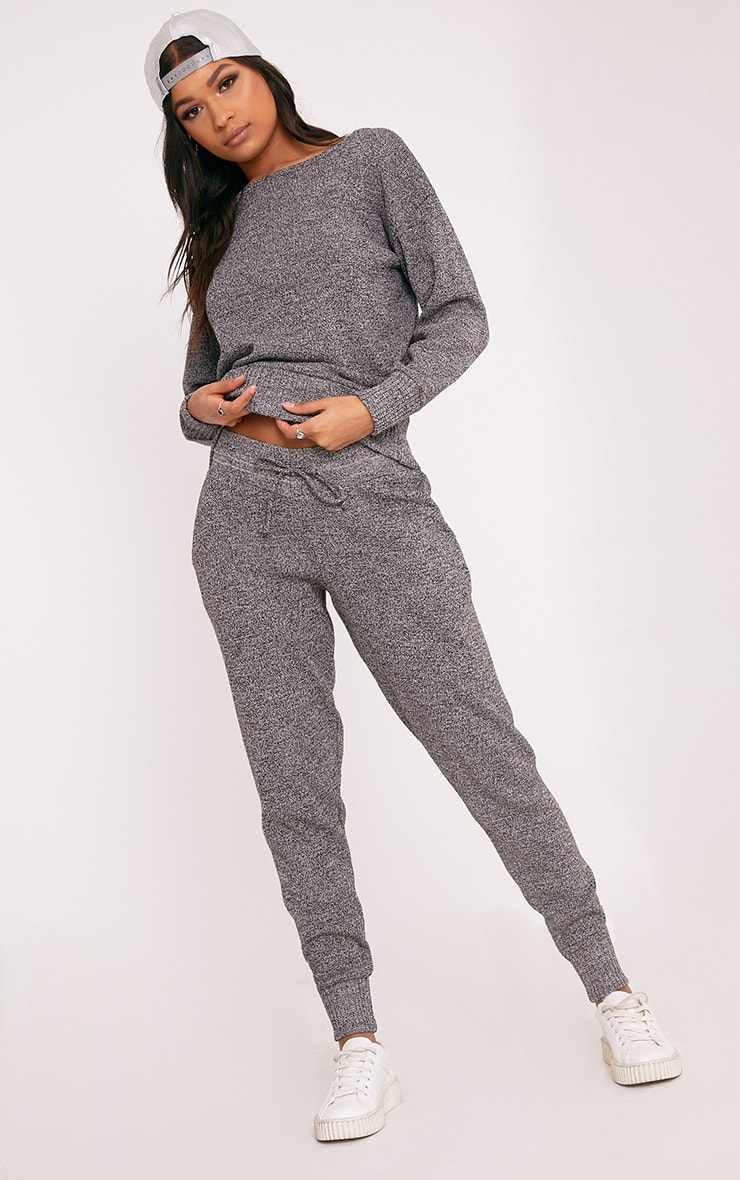 Grey Jogger Jumper Knitted Lounge Set 1
